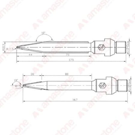Disegno fresa per bassorilievi gambo lungo 3x120 / 5x120 - Marmo - OMGF