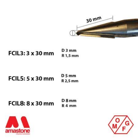 Fresa in widia attacco cilindrico 14 mm - Marmo - OMGF