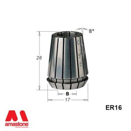 Pinza elastica ER16 Dimensioni