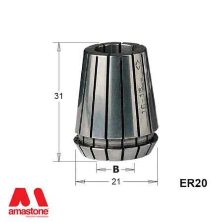 Pinza elastica ER20 Dimensioni