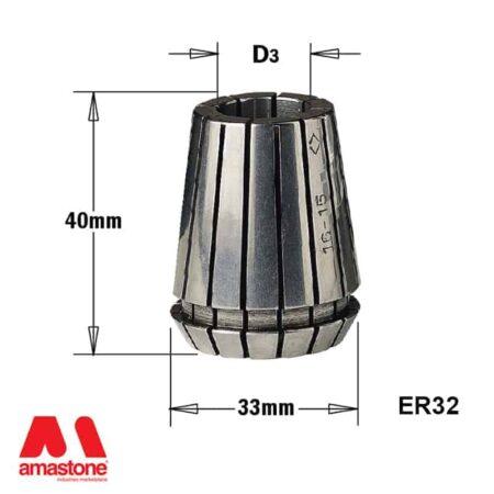Pinza elastica ER32 Dimensioni