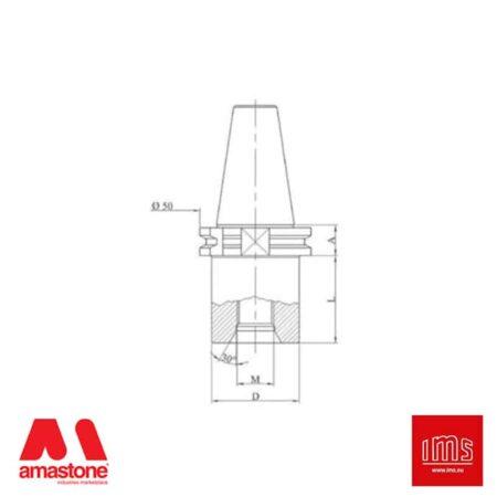 Cono portautensile ISO 30 attacco 1/2 Gas - DIN 69871/A - IMS