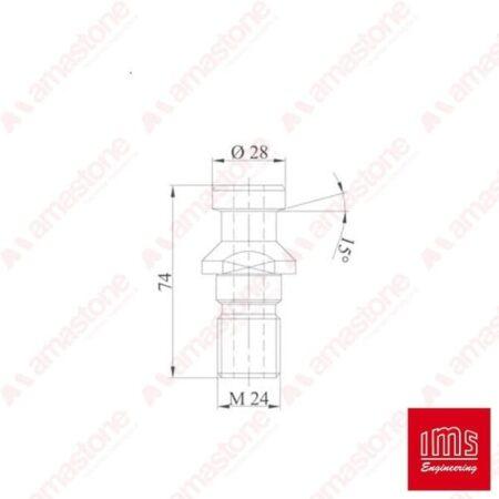 AAF51 - Disegno tecnico codolo per coni portautensile ISO 50 Bidese, 2T, Biesse, Brembana Cms, D2, DIN 69871/A, HSD e Pedrini - IMS