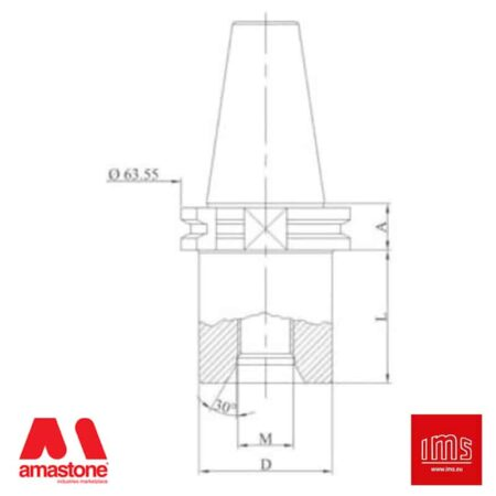 Cono portautensile ISO 30 attacco 1/2 Gas Bavelloni - Tagli uguali - IMS