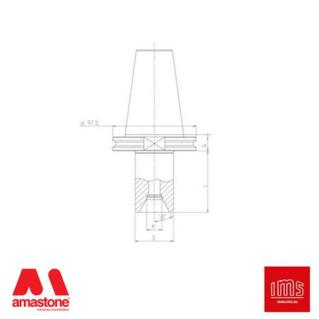 Cono portautensile ISO 50 HSD attacco 1/2 Gas - Tagli uguali - IMS