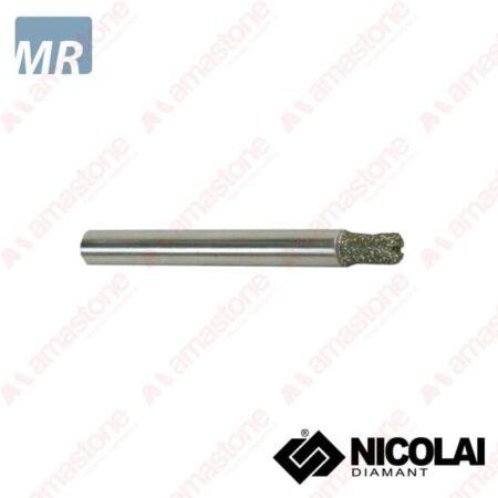 Nicolai – Fresa a testa piatta elettrodeposta per marmo - Attacco cilindrico 6 mm