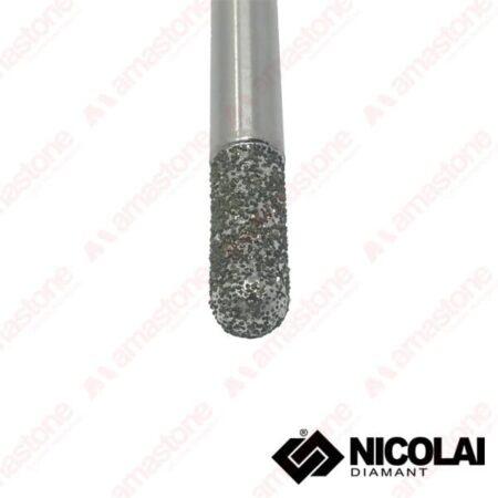 Nicolai – Fresa elettrodeposta testa raggiata per marmo - Attacco cilindrico 6 mm