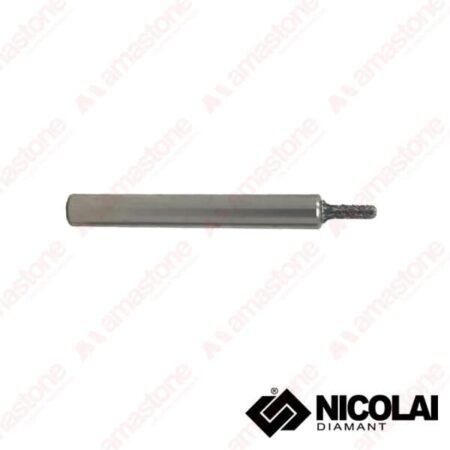 Nicolai - Fresa elettrodeposta testa piatta per marmo - Attacco cilindrico 10 mm - Diametro 4-5 mm
