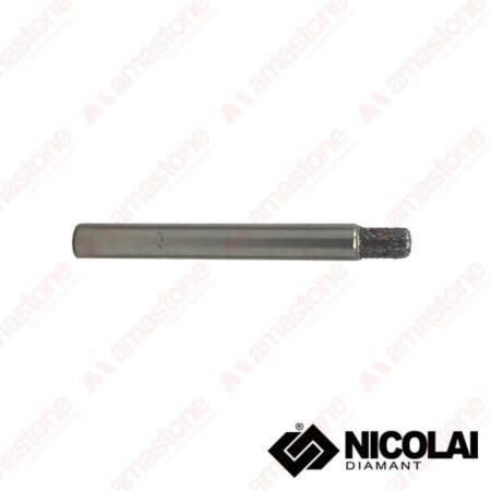 Nicolai - Fresa elettrodeposta testa piatta per marmo - Attacco cilindrico 10 mm - Diametro 6 mm