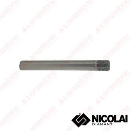 Nicolai - Fresa elettrodeposta testa piatta per marmo - Attacco cilindrico 10 mm - Diametro 8-10 mm