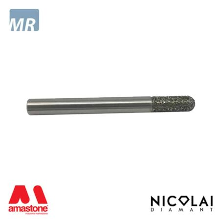 Fresa elettrodeposta testa raggiata per marmo - Attacco cilindrico 6 mm - Nicolai