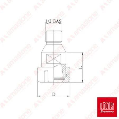 Adattatore 1/2 Gas > Portapinza ER - IMS