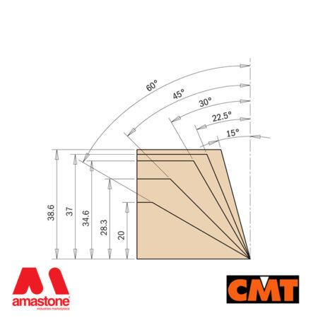 Fresa per legno con coltellini intercambiabili per smussare - CMT