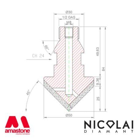 Disegno fresa 45° per granito e quarzo – Nicolai