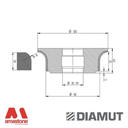 Mola Ø100 mm - Profilo A33 R15 - Diamut