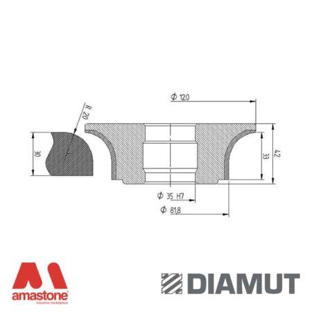 Mola Ø100 mm - Profilo A33 R20 - Diamut