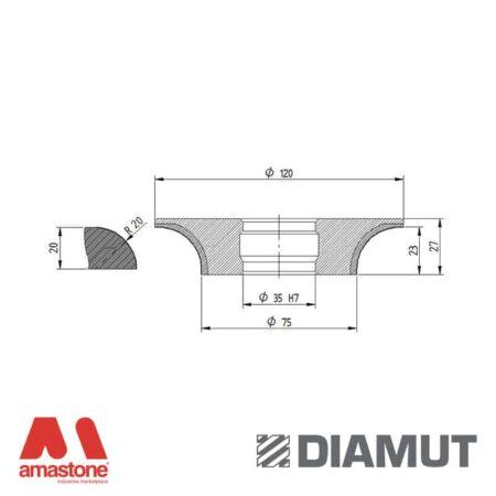 Mola Ø100 mm - Profilo B23 R20 - Diamut