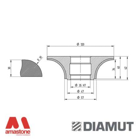 Mola Ø100 mm - Profilo B33 R30 - Diamut