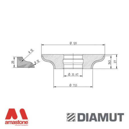 Mola Ø100 mm - Profilo F23 R12 - Diamut