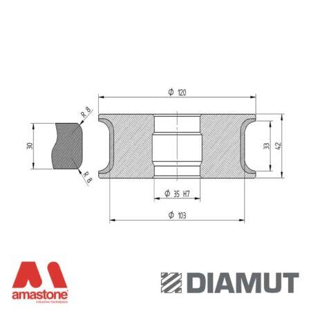 Mola Ø100 mm - Profilo T33 R8 - Diamut