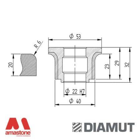 Mola Ø40 mm - Profilo A23 R6 - Diamut