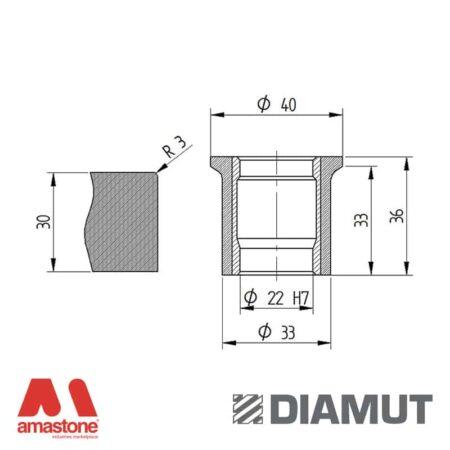 Mola Ø40 mm - Profilo A33 R3 - Diamut