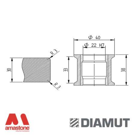 Mola Ø40 mm - Profilo T33 R3 - Diamut