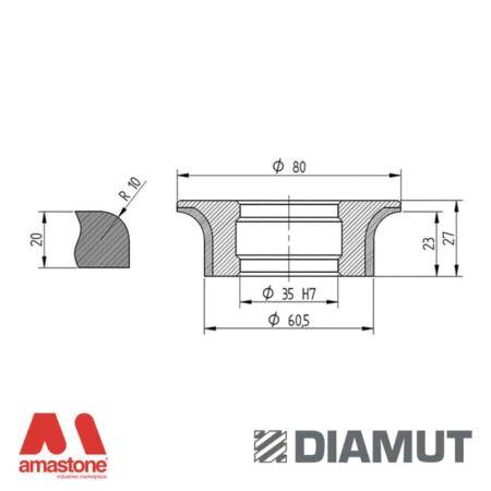 Mola Ø80 mm - Profilo A23 R10 - Diamut
