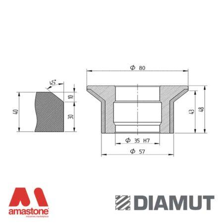 Mola Ø80 mm - Profilo E43 B11,5 - Diamut
