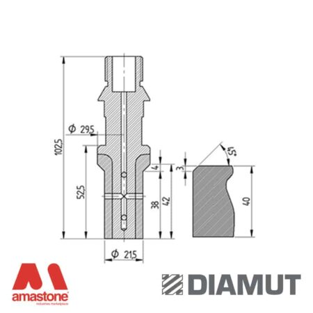 Mola interno lavelli Ø20 mm - Profilo E42 B4 Sopra - Diamut