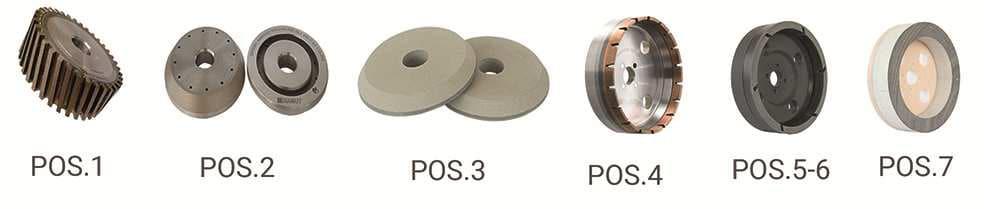 Mole a tazza per CNC 5 assi vetro - posizioni - Diamut Amastone